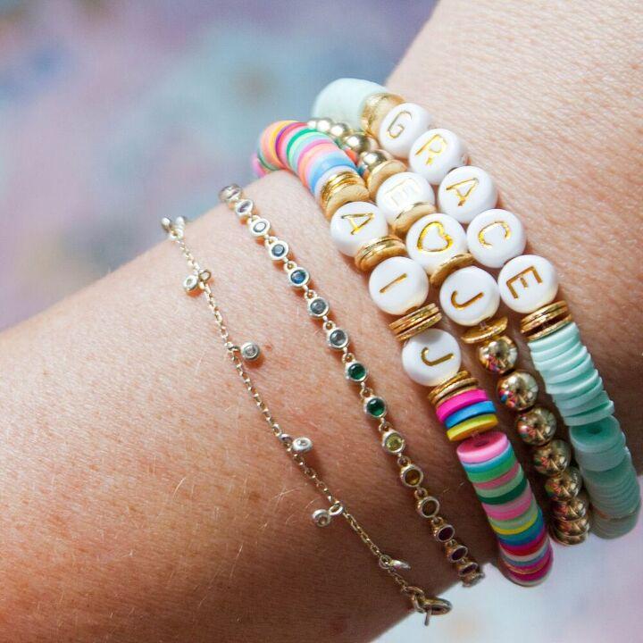 diy colorful alphabet bracelet
