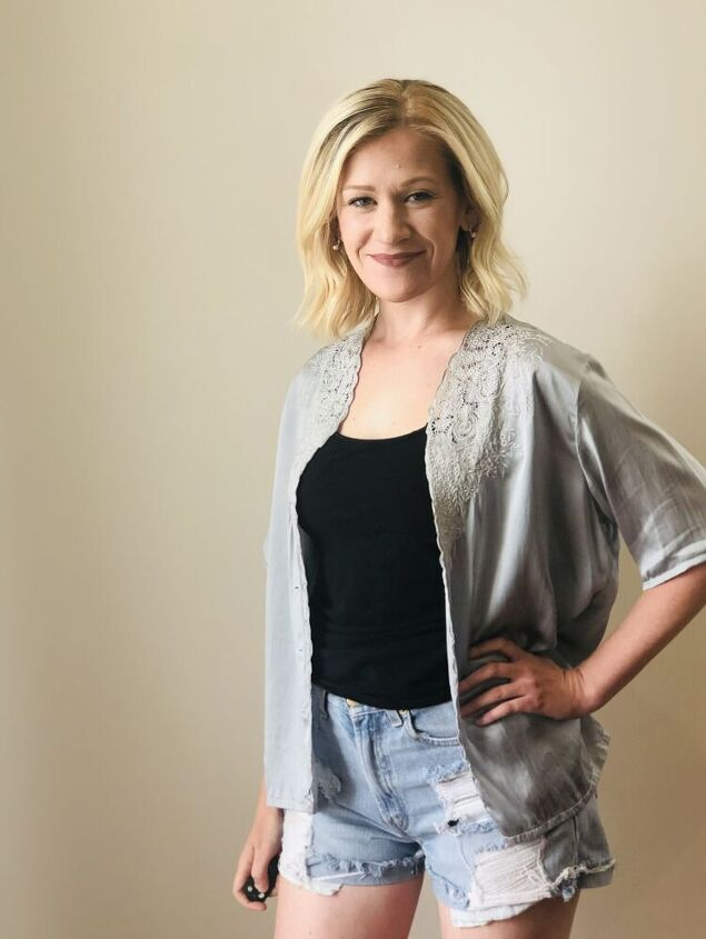 how to turn a vintage silk pajama top into sophisticated fall fashion