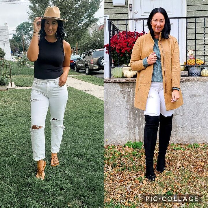 taking white jeans from summer to fall