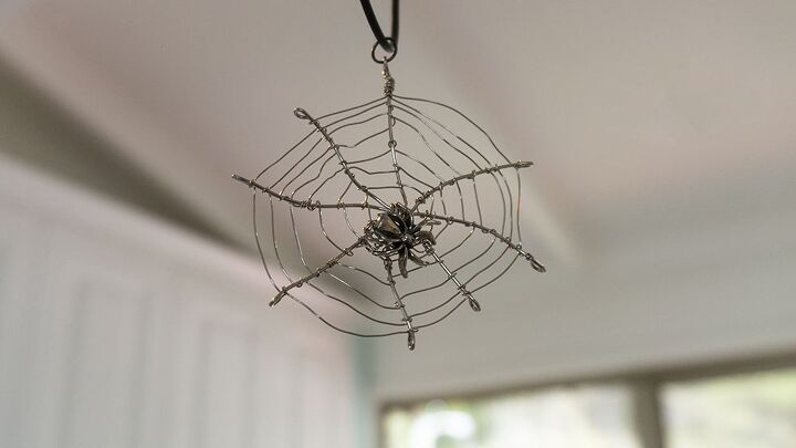 halloween jewellery spider in the web pendant