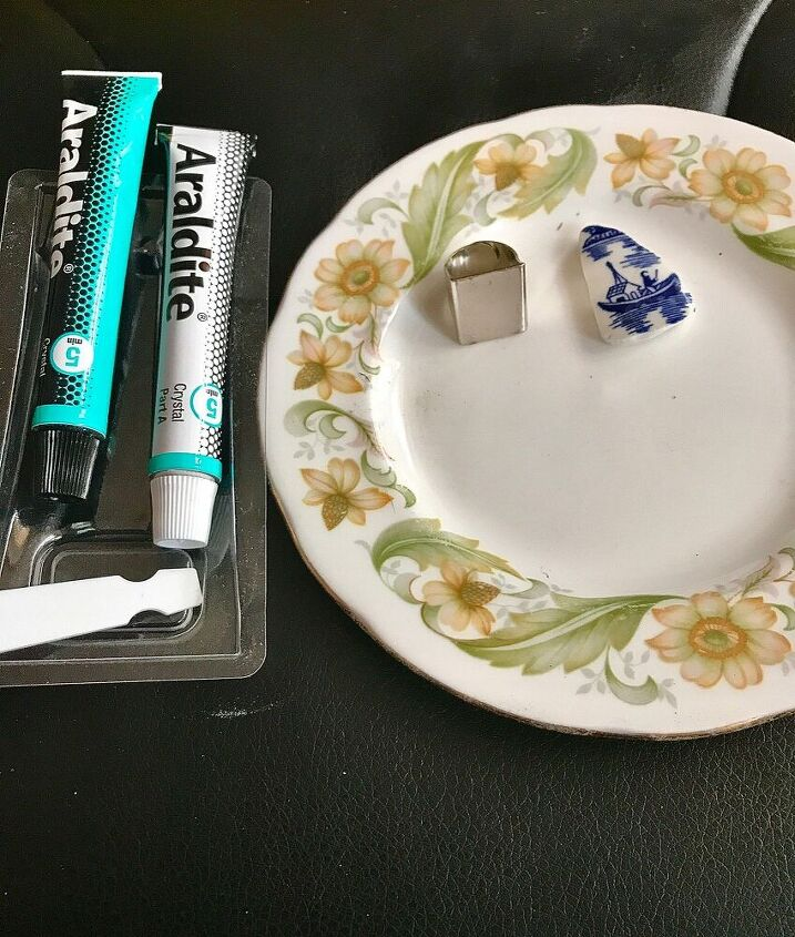 Materials to make a Broken china ring