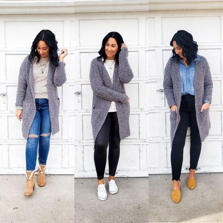 chunky cardigan styled 5 ways