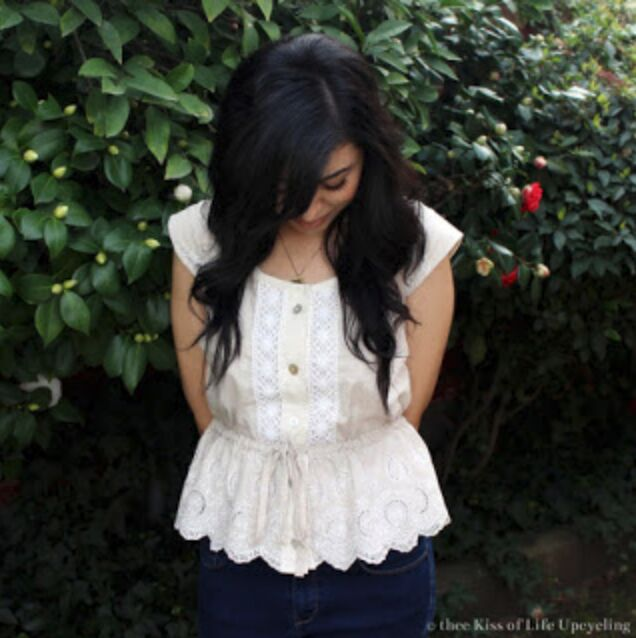 refashion from bottom to top an upcycled peplum button down shirt