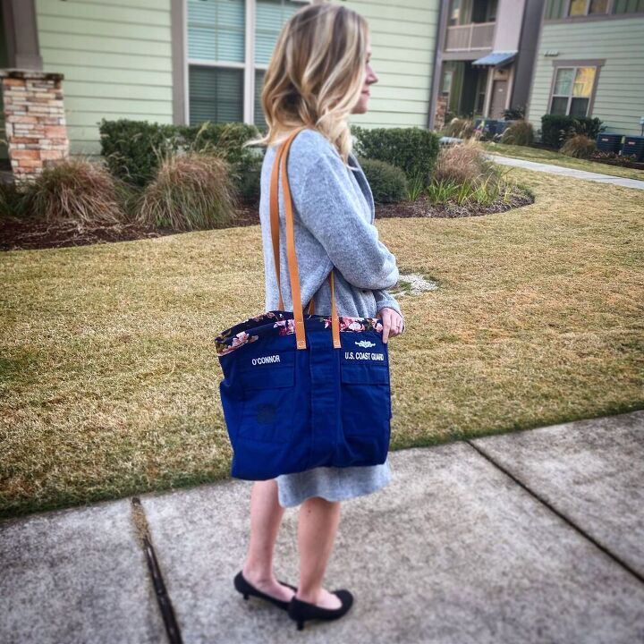 how to make a tote bag out of an old military uniform or jacket