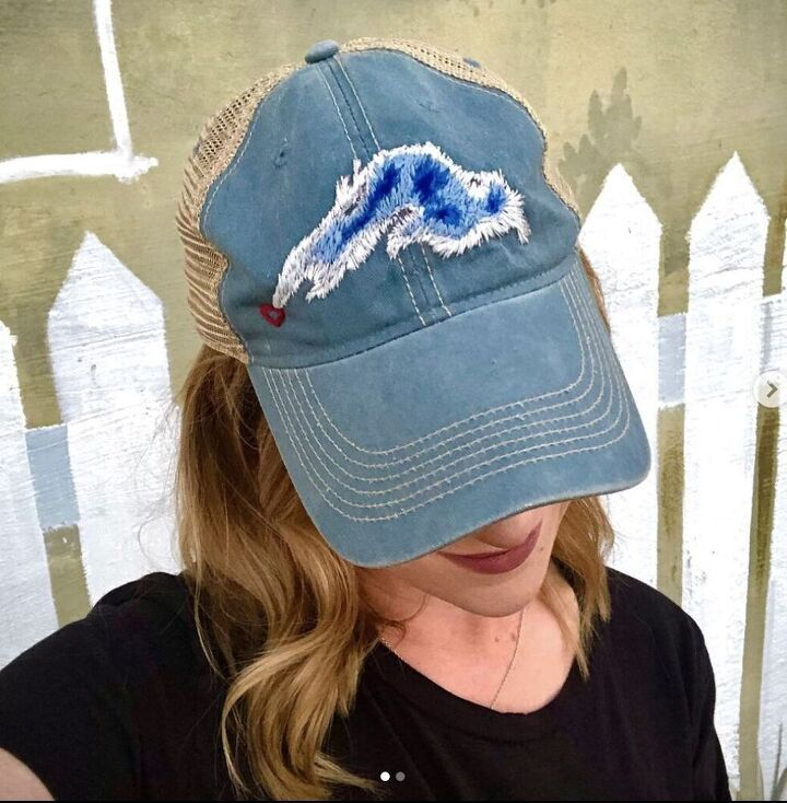 how to upcycle an old hat with custom embroidery