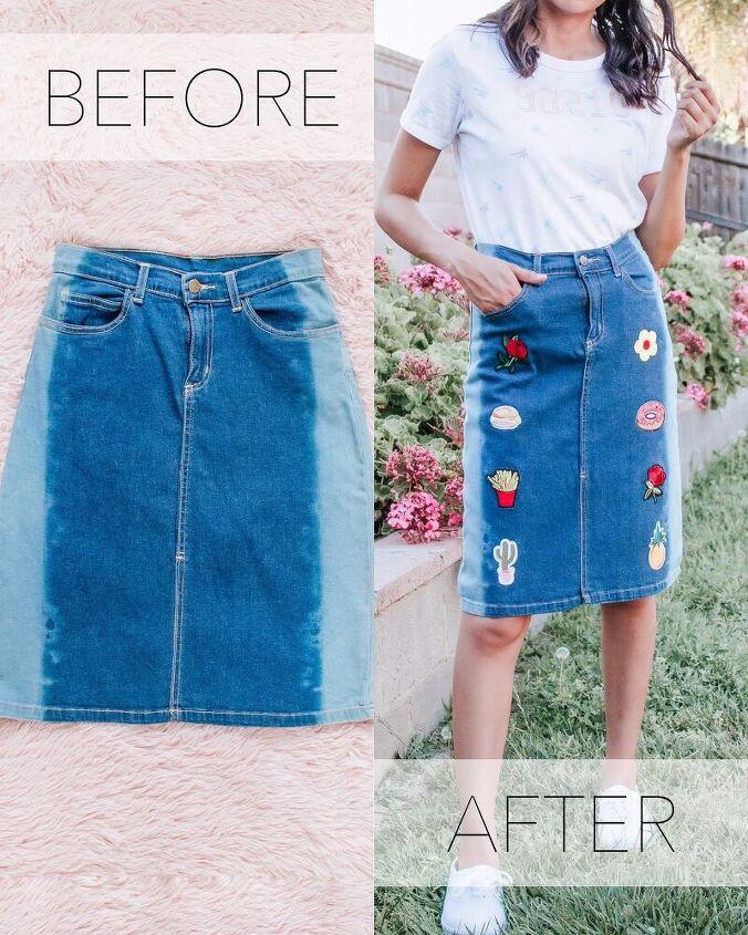 easy diy denim patch skirt refashion