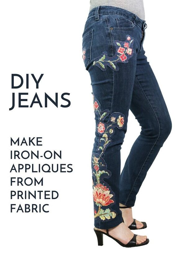 customize old jeans with no sew diy appliques