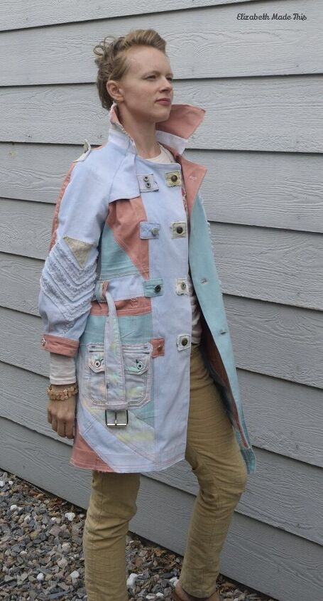 jeanius pastel denim trench coat