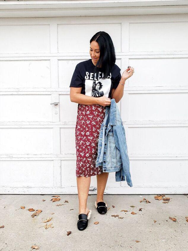 styling a printed midi skirt multiple ways