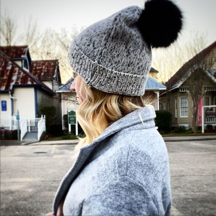 how to make a slouchy pom pom beanie from an old sweater