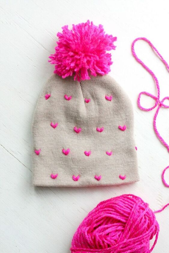 diy heart patterned stitched pom pom beanie