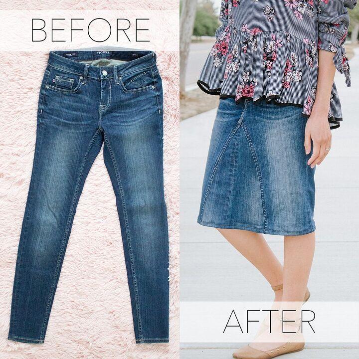pants to skirt refashion tutorial