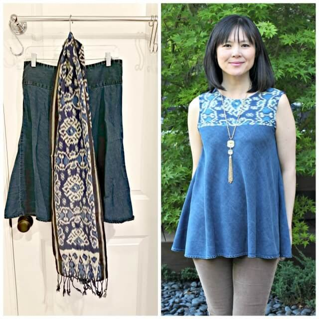 upcycle a skirt and scarf into a boho swing tank top