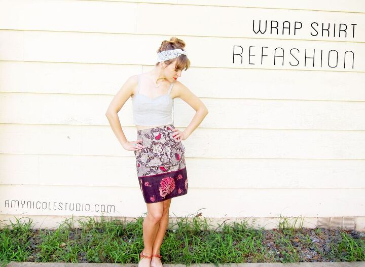refashioned wrap skirt to pencil skirt