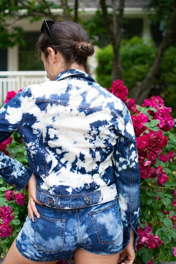 bleach tie dye jean jacket tutorial