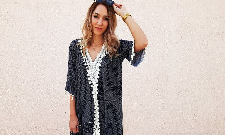 how to ridiculously comfortable easy kaftan with tassel trim detail