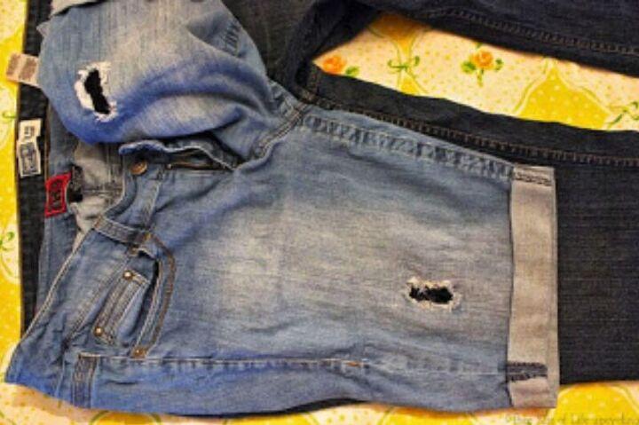 refashion diy pants into capris or shorts