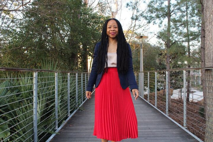 3 ways to style a red midi skirt