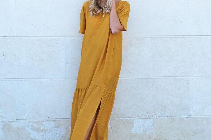 how to easy oversized t shirt maxi dress with gathered hem slit