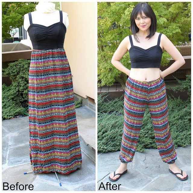 from maxi dress to jogger pants and crop top remake