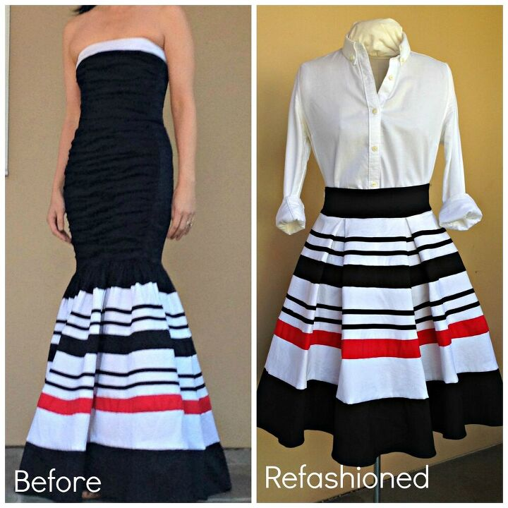 recycle a prom dress into a pleated skirt bonus cocktail dress