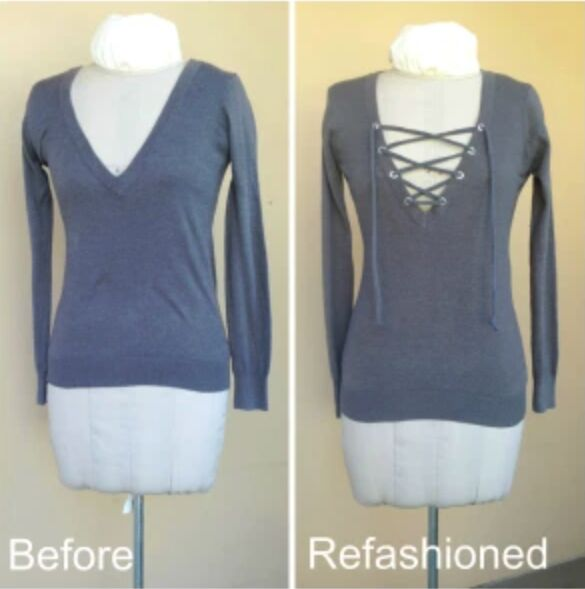 no sew refashion tutorial add a lace up tie to a v neck sweater