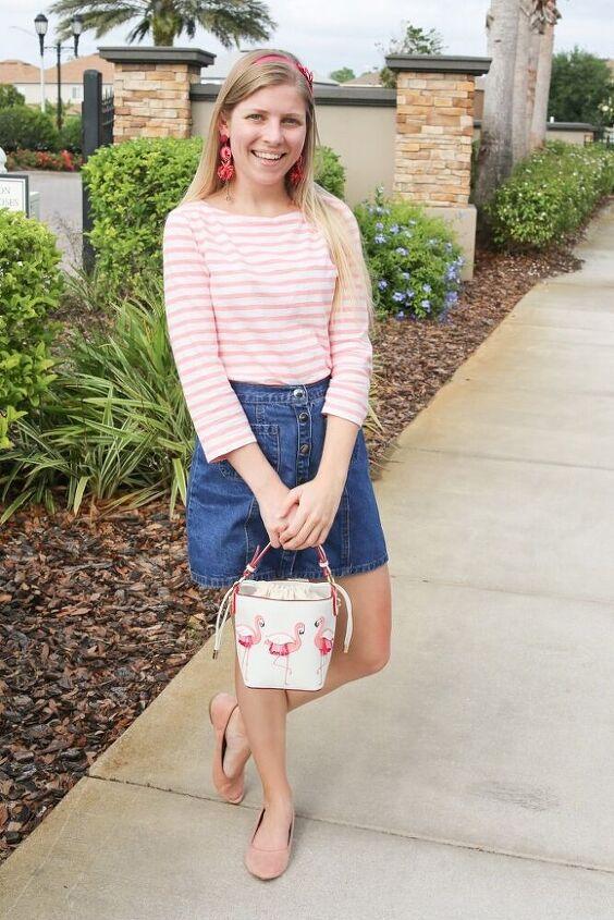 spring stripes classic denim skirt
