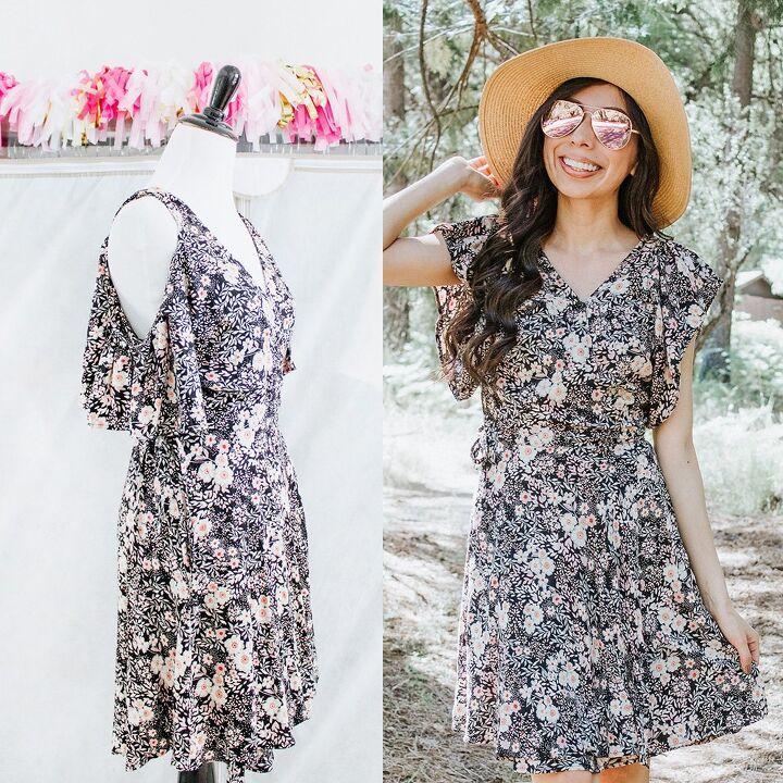 cold shoulder to normal sleeve modest dress refashion