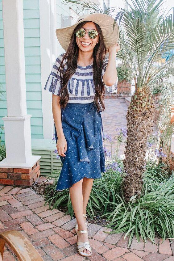 anchor print faux wrap ruffle skirt