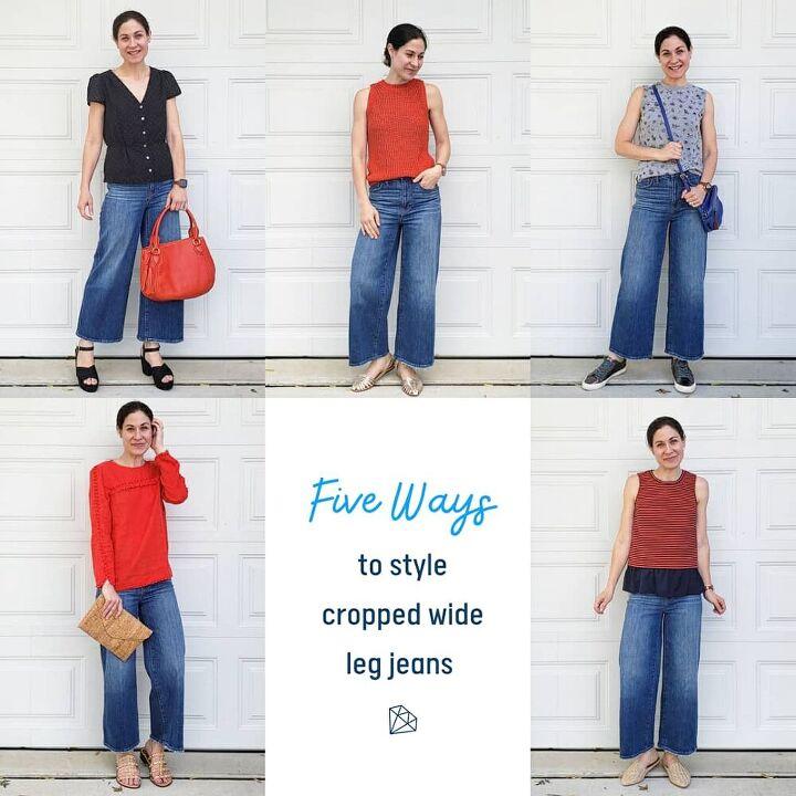 five ways to wear cropped wide leg jeans