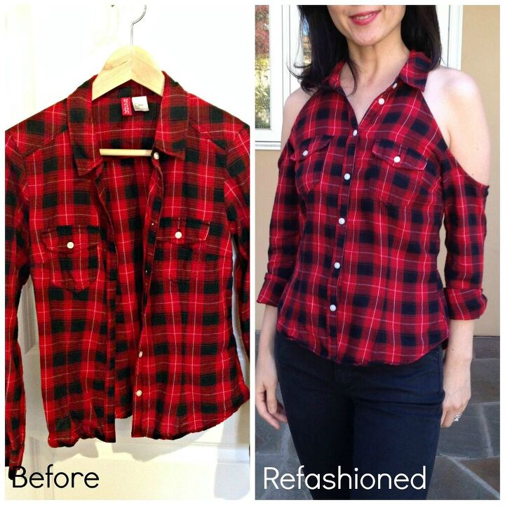 how to add cold shoulders to a flannel shirt in 1 hour