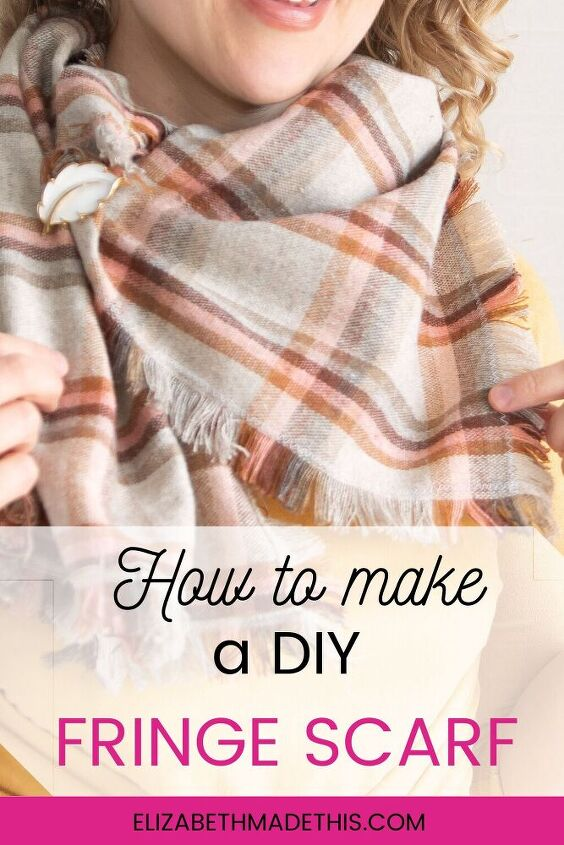 how to make a fringe scarf, Pin me on Pinterest