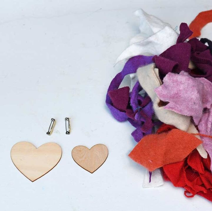 cute heart shape brooch out of old sweaters