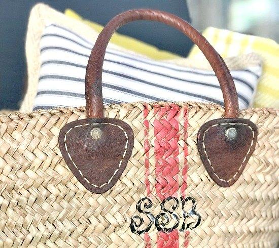 grain sack stenciled market basket