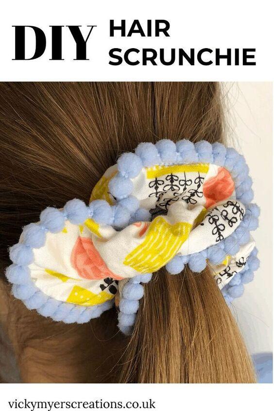 how to make a hair scrunchie with pompom trim