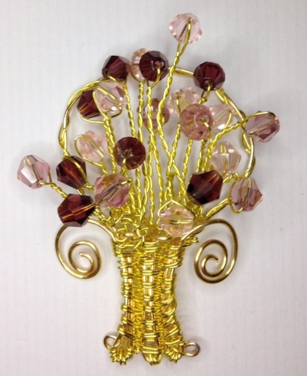 wire beaded flower basket