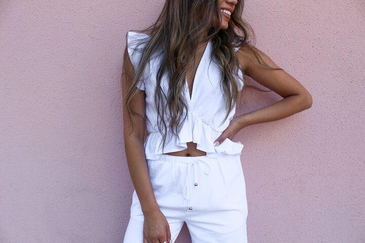 white two piece pant set