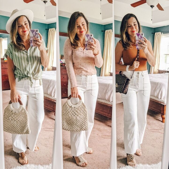 3 ways to style wide leg white jeans this summer