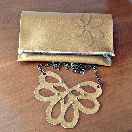 no sew zippered leather clutch necklace diy