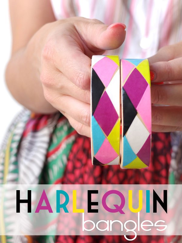 how to make harlequin decoupage bangles