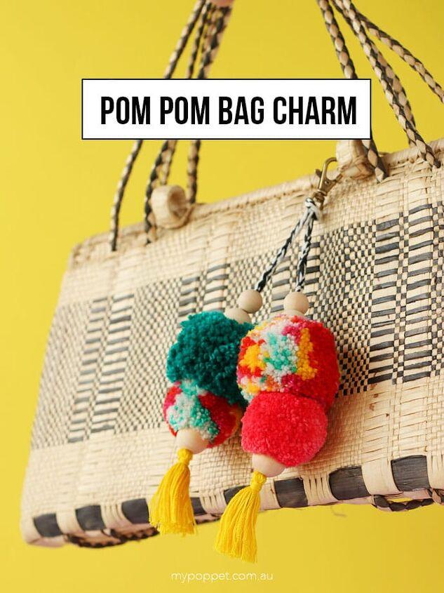 pom pom craft pompom bag charm key ring