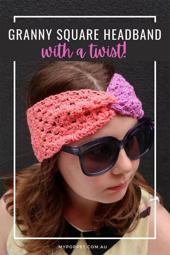 colour blocked granny square headband