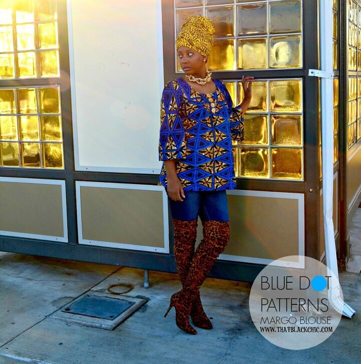 the margo blouse blue dot patterns creative sewing challenge