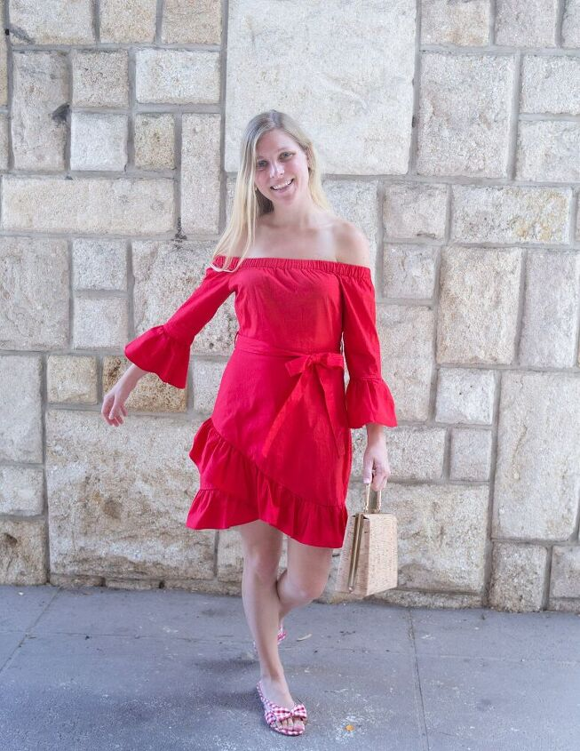off the shoulder red dress, Shop this Look Similar off the Shoulder Red Dress Similar Gingham Sandals Similar Cork Purse Pineapple Earrings