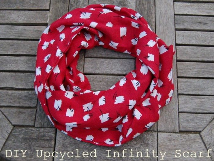 infinity scarf tutorial upcycled skirt