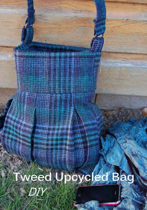 skirt upcycled into a tweed bag