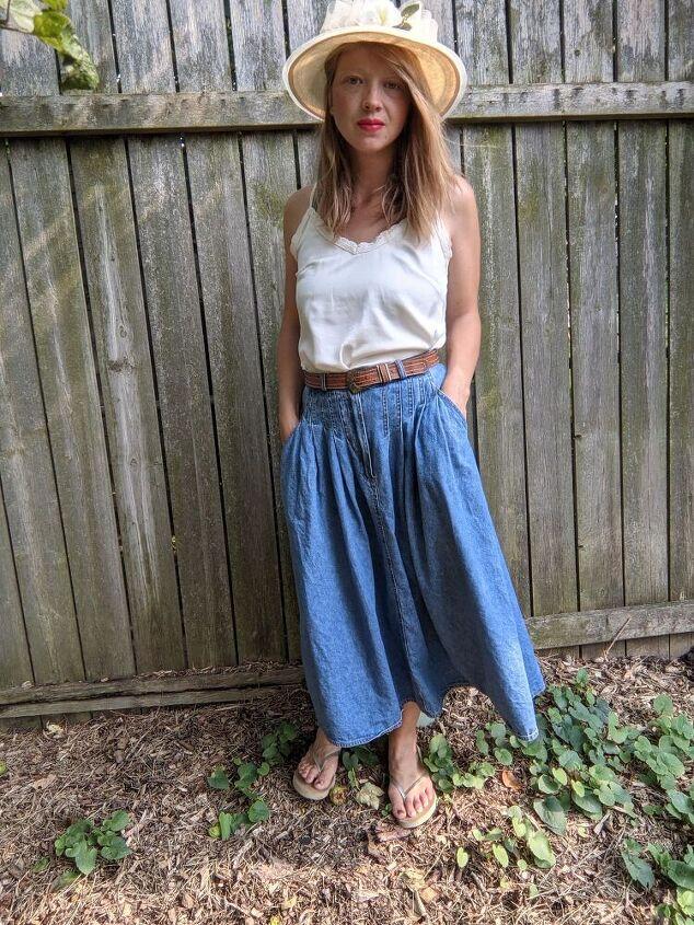 three ways to style a vintage denim skirt
