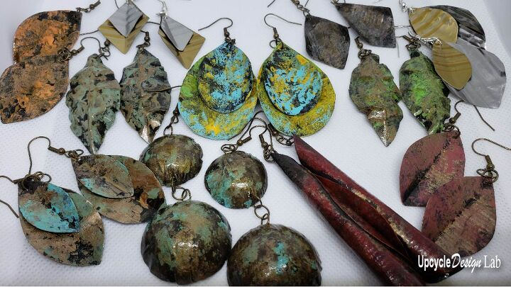 upcycled tin can earrings recycle tin cans